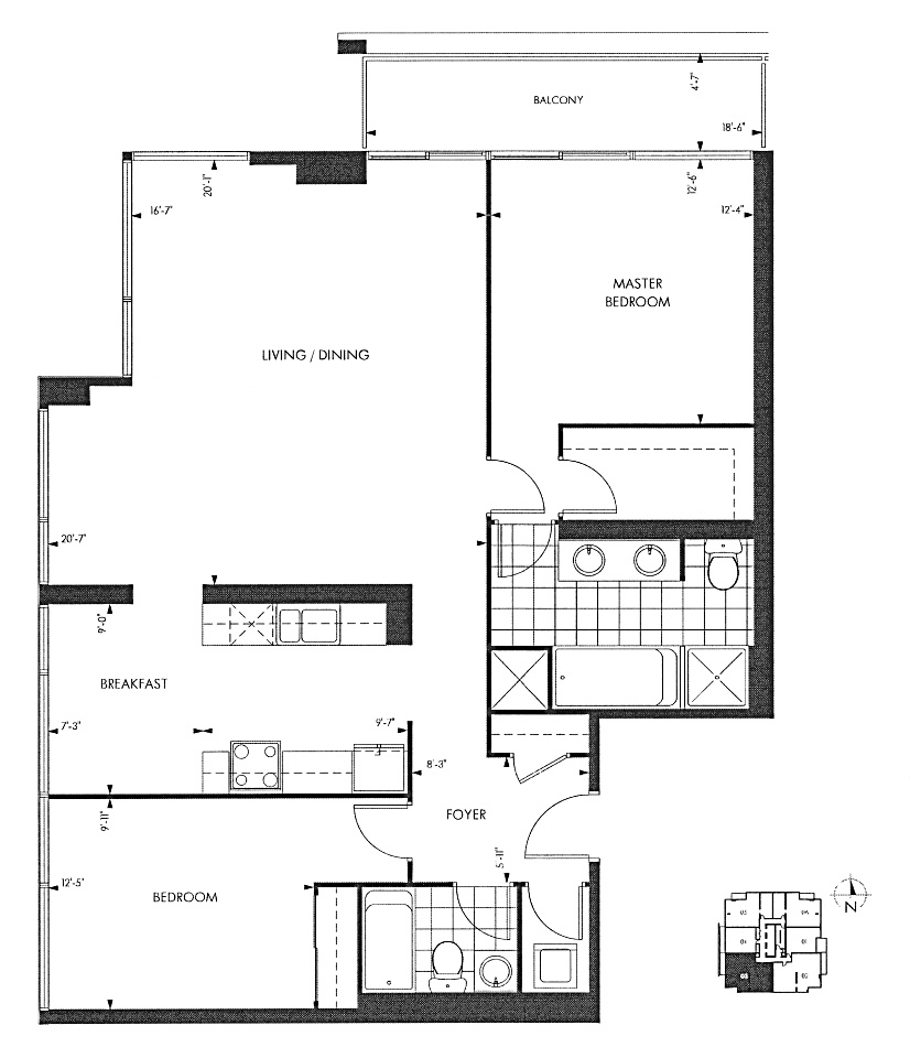 18 Yorkville Ave Toronto Floor Plans Annex Condos 2 Bedrooms 1242 Sq Ft Plus Balcony Asquith B Layout