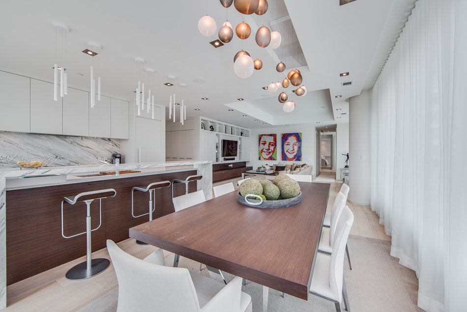 77 Charles St West Dining Room Kitchen Unit 1402 Toronto Yorkville Condos Luxury